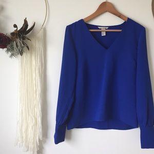 H&M   cobalt blue long sleeved blouse